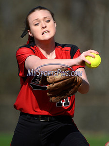 4/17/2014 Mike Orazzi | Staff Berlin's Makayla Harris pitching at Sage Park in Berlin against Bristol Central.