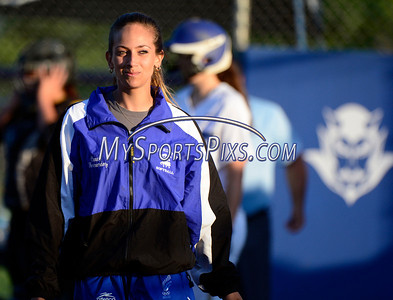 6/14/2014 Mike Orazzi | Staff Southington High School softball coach Davina Hernandez at the start of Saturday's Class LL Final with Amity at West Haven High School.