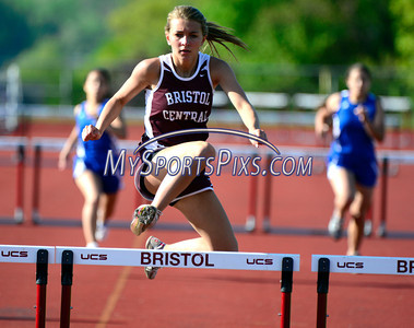 5/20/2014 Mike Orazzi | Staff Bristol Central's Rileigh Luba takes first place  in the 300 hurdles during Tuesday's meet between Eastern and Central at BC.