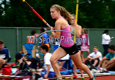 7/19/2014 Mike Orazzi | Staff Ali Moraveck during the pole vault at the Nutmeg State Games at Veteran's Memorial Stadium, Willowbrook Park in New Britain on Saturday morning.