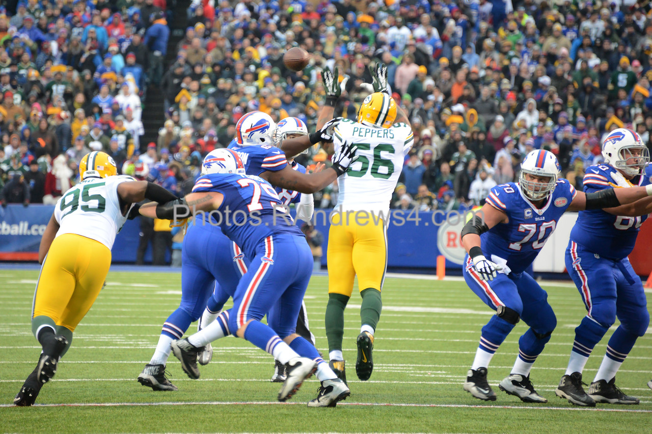 Julius Peppers jumps up to tip an Orton pass.