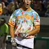 8-6-15<br /> Jackrabbits vs Sliders<br /> Chris Klenk cheers after he ties the game 4-4.<br /> Kelly Lafferty Gerber | Kokomo Tribune