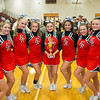 ERHS Competition Cheer Seniors with the Conference Trophy.  L-R Camyrn Huffman, Linzze Williams,. Gabby Dean, Lindsey Hensley, Faith Carter, Gabby Fernando, Abby Borg, Alyssa Breeden, & Brooke Trimble.