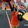 Junior Shalese Hayes cheering during round 2 of the region 2A meet.