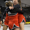 Senior Abigail Borg hugs Senior Brooke Trimble after second round performance.