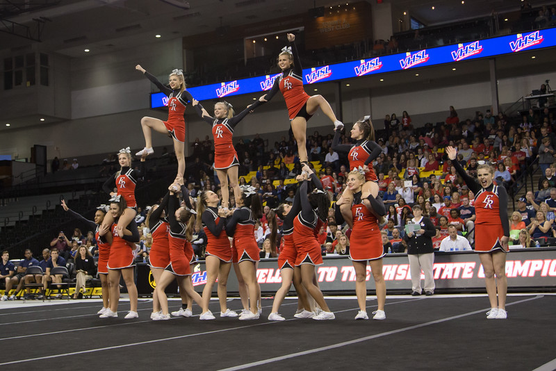 ERHS Cheer performing pyramid stunt during round 1 at State Championships.