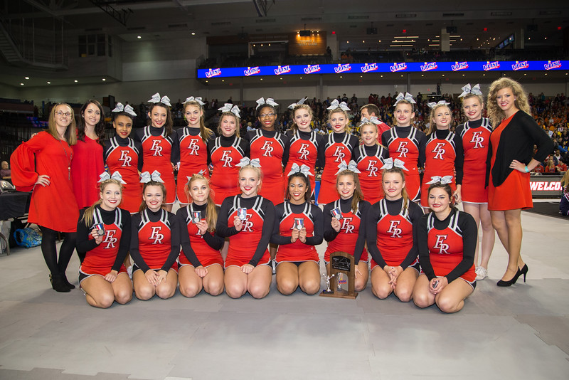 ERHS Cheer with the State second place trophy.