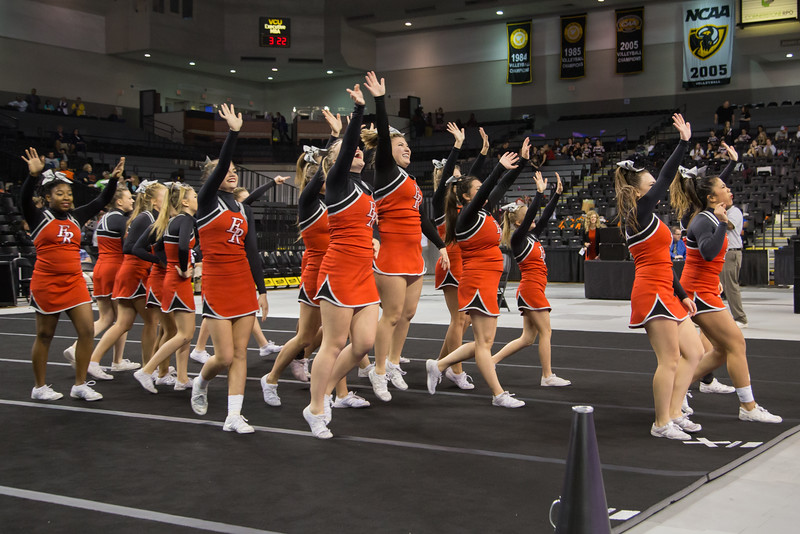 ERHS Cheerleaders waves to the fans as they leave the mat during round 2.