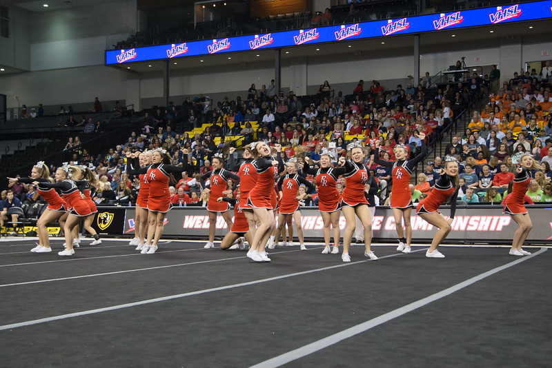 ERHS Cheer performing in round 1 at State Championships.