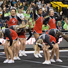 ERHS Cheer performing during round 2 at State Championships. Left to right Sophmore Cara Lasam, Senior Gabby Fernando, and Junior Bethany Eppard