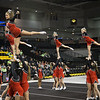 ERHS Cheer performing during round 2 at State Championships.  Left to Right Senior Lindsey Williams (front right), Freshman Carlle Huffman (back right),  Freshman Savannah Baugher, Junior Tori Cook