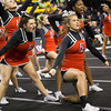 ERHS Cheer performing during round 2 at State Championships.   Senior Gabriella Dean (back), Senior Faith Carter (middle left), Freshman LaRisa Jackson-Sweezy (middle right) and Senior Lindsey Hensley (front)