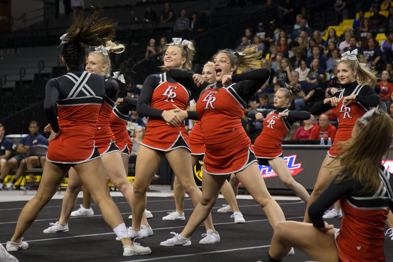 ERHS Cheer performing pyramid stunt during round 1 at State Championships. Left to Right Seniors Camyrn Huffman, Alyssa Breeden, Faith Carter, and Linzzee Williams
