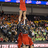 ERHS Cheer performing during round 2 at State Championships.  Freshman Carlee Huffman atop stunt group.