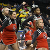 ERHS Cheer performing during round 2 at State Championships.   Senior Faith Carter (middle left), Freshman LaRisa Jackson-Sweezy (middle right) and Senior Lindsey Hensley (front)