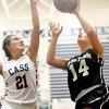 12-19-15<br /> Lewis Cass vs Western girls basketball<br /> Cass' Ashton McClain and Western's Carlie Ritchie<br /> Kelly Lafferty Gerber | Kokomo Tribune