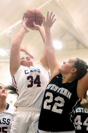 12-19-15<br /> Lewis Cass vs Western girls basketball<br /> Cass' Abrah Humerickhouse and Western's Kaylee Penning<br /> Kelly Lafferty Gerber | Kokomo Tribune