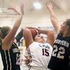 12-19-15<br /> Lewis Cass vs Western girls basketball<br /> Western's Jessie Harding and Kaylee Penning and Cass' Alexa Humerickhouse<br /> Kelly Lafferty Gerber | Kokomo Tribune