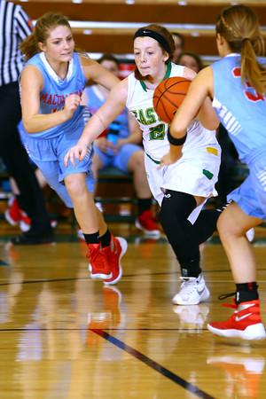 Girls basketball between Eastern HS and Maconaquah HS Dec., 5, 2015. Easterm's Maci Weeks driving up court in the 3rd quarter.<br /> Tim Bath | Kokomo Tribune