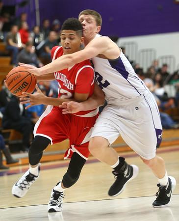 12-18-15<br /> Northwestern vs Maconaquah boys basketball<br /> Maconaquah's Brayden Marley and Northwestern's Quinlan Armstrong<br /> Kelly Lafferty Gerber | Kokomo Tribune