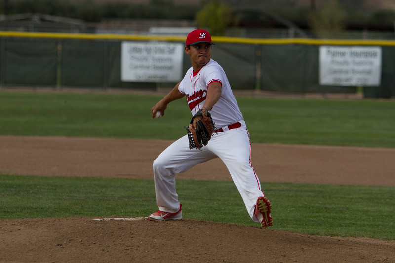 Lindsay pitcher Giovanni Perez (10) pitched 5 1/3 innings against Corcoran on March 24, 2015.