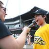 "7-18-15<br /> Jackrabbits vs West Virginia<br /> 7-year-old James Michael Myers yells ""play ball!"" before the start of the Jackrabbits game on Saturday.<br /> Kelly Lafferty Gerber | Kokomo Tribune"