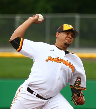 6-17-15 Jackrabbits vs Rex Felix Baez pitches. Kelly Lafferty Gerber | Kokomo Tribune