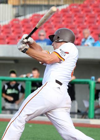 6-11-15<br /> Jackrabbits vs Sliders<br /> Brad Hamilton bats.<br /> Kelly Lafferty Gerber | Kokomo Tribune