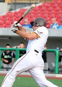 6-11-15 Jackrabbits vs Sliders Brad Hamilton bats. Kelly Lafferty Gerber | Kokomo Tribune