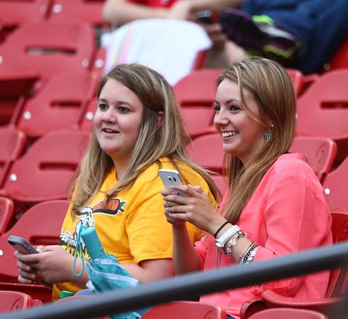 6-17-15<br /> Jackrabbits vs Rex<br /> Alli Renshaw and Kiersten Durbin watch the Jackrabbits take on the Terre Haute Rex on Wednesday, June 17, 2015.<br /> Kelly Lafferty Gerber | Kokomo Tribune