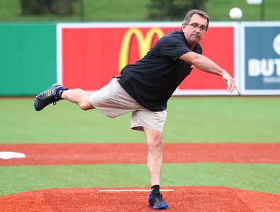 6-17-15 Jackrabbits vs Rex The Logansport Mayor throws the first pitch. Kelly Lafferty Gerber | Kokomo Tribune