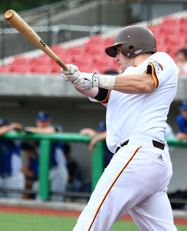 6-17-15<br /> Jackrabbits vs Rex<br /> Chris Folinusz bats.<br /> Kelly Lafferty Gerber | Kokomo Tribune