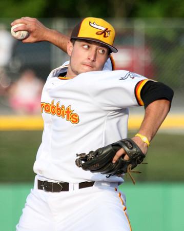 6-4-15<br /> Kokomo Jackrabbits vs Terre Haute Rex<br /> Evan Warden, Kokomo native, pitches for the Jackrabbits.<br /> Kelly Lafferty Gerber | Kokomo Tribune