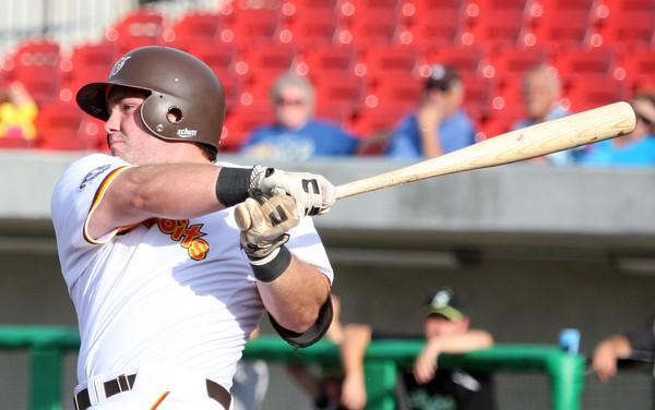 6-11-15 Jackrabbits vs Sliders Shea Molitor bats. Kelly Lafferty Gerber | Kokomo Tribune