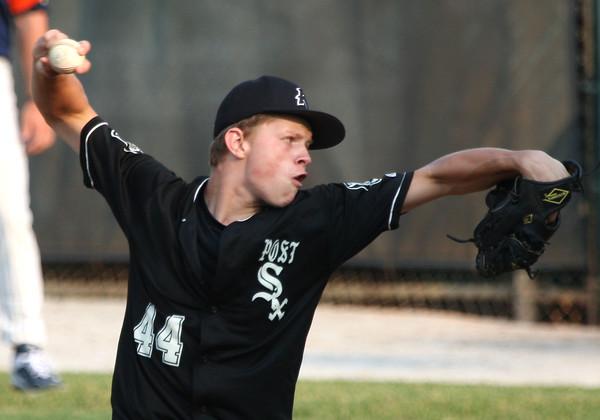 6-9-15<br /> Legion baseball Kokomo vs Plymouth<br /> Quinlan Armstrong pitches.<br /> Kelly Lafferty Gerber | Kokomo Tribune
