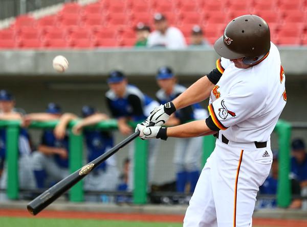 6-17-15<br /> Jackrabbits vs Rex<br /> Mark Zimmerman bats.<br /> Kelly Lafferty Gerber | Kokomo Tribune
