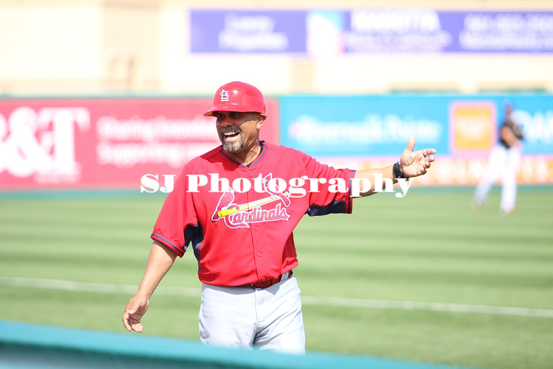 Coach Jose Oquendo of the St. Louis Cardinals