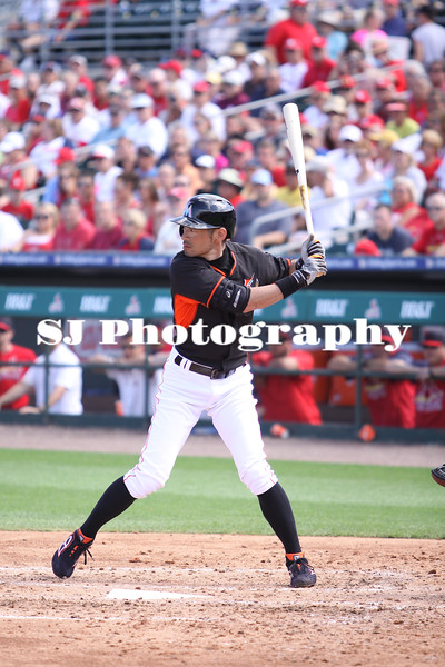 Ichiro Suzuki of the Miami Marlins at bat