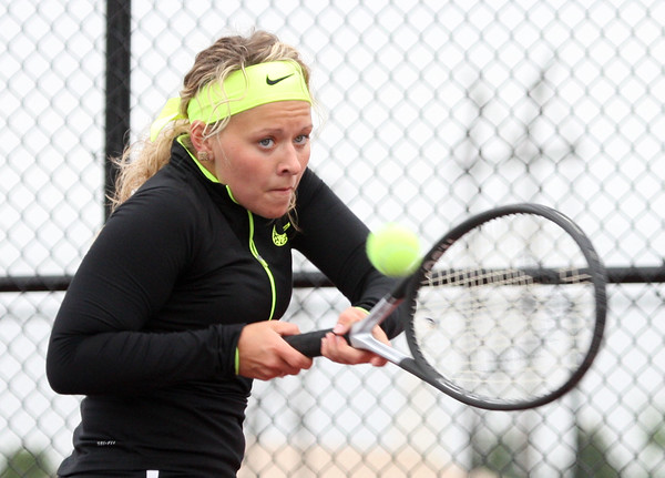 5-20-15<br /> Kokomo vs Western tennis<br /> Western 2 singles Allison Ault<br /> Kelly Lafferty Gerber | Kokomo Tribune