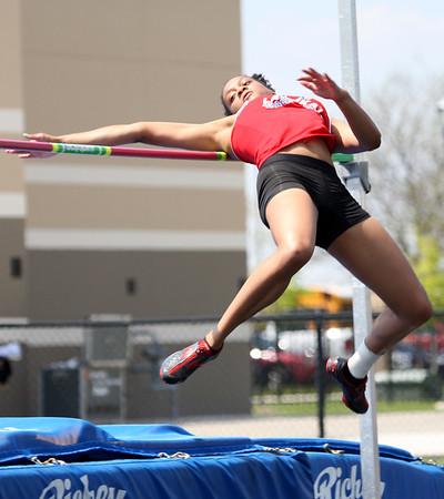 5-2-15<br /> Kokomo Relays<br /> Kokomo's Deju Miller during the high jump.<br /> Kelly Lafferty Gerber | Kokomo Tribune