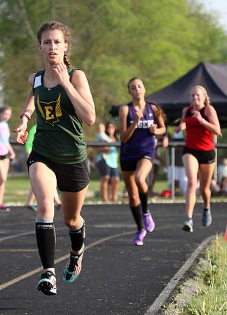 5-6-15<br /> Howard Co track and field<br /> Eastern's Carly Jones in the 1600 M run.<br /> Kelly Lafferty Gerber | Kokomo Tribune