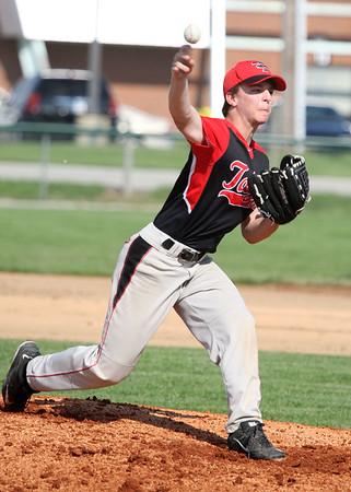 5-5-15<br /> Eastern vs Taylor baseball<br /> Taylor's Justin Moody pitches.<br /> Kelly Lafferty Gerber | Kokomo Tribune
