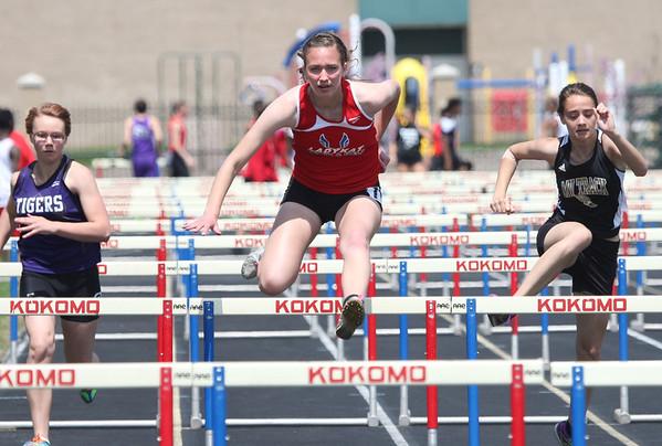 5-2-15<br /> Kokomo Relays<br /> Kokomo's Kirsten Frey in the hurdles.<br /> Kelly Lafferty Gerber | Kokomo Tribune