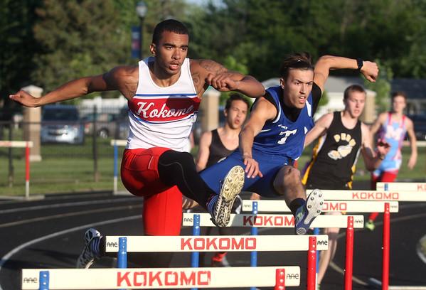 5-21-15<br /> Boys Track Sectional<br /> Kokomo's Jordan Nix in the 300 M hurdles.<br /> Kelly Lafferty Gerber | Kokomo Tribune