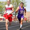 5-2-15<br /> Kokomo Relays<br /> Kokomo's Ethan Sharp and Northwestern's Ethan Dubbles in the relay.<br /> Kelly Lafferty Gerber | Kokomo Tribune
