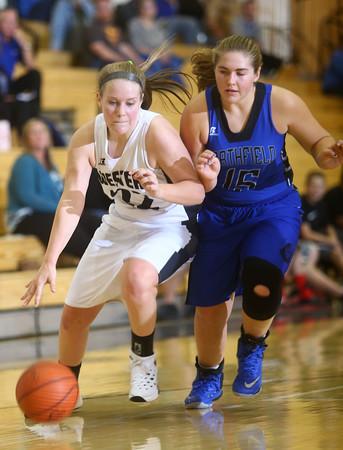 9-10-15<br /> Western girls basketball<br /> Western's Kaylee Penning and Northfield's Abby Keaffaber<br /> Kelly Lafferty Gerber   Kokomo Tribune