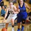 9-10-15<br /> Western girls basketball<br /> Western's Kaylee Penning and Northfield's Abby Keaffaber<br /> Kelly Lafferty Gerber | Kokomo Tribune