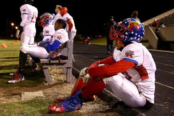 11-20-15<br /> Kokomo football semistate<br /> Jordan Matthews waits as the final minutes play out in the semistate game.<br /> Kelly Lafferty Gerber | Kokomo Tribune