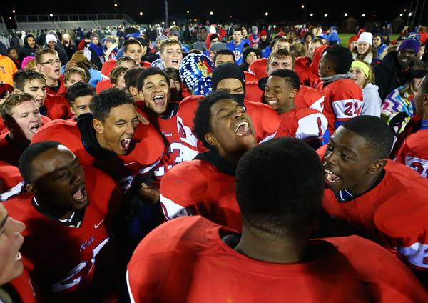The Wildkats celebrate after Kokomo defeats Westfield 21-19 for the regional championship on Friday, November 13, 2015.<br /> Kelly Lafferty Gerber   Kokomo Tribune