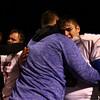 11-20-15<br /> Kokomo football semistate<br /> Carson Guire (58) hugs a coach after the Wildkats semistate loss.<br /> Kelly Lafferty Gerber | Kokomo Tribune
